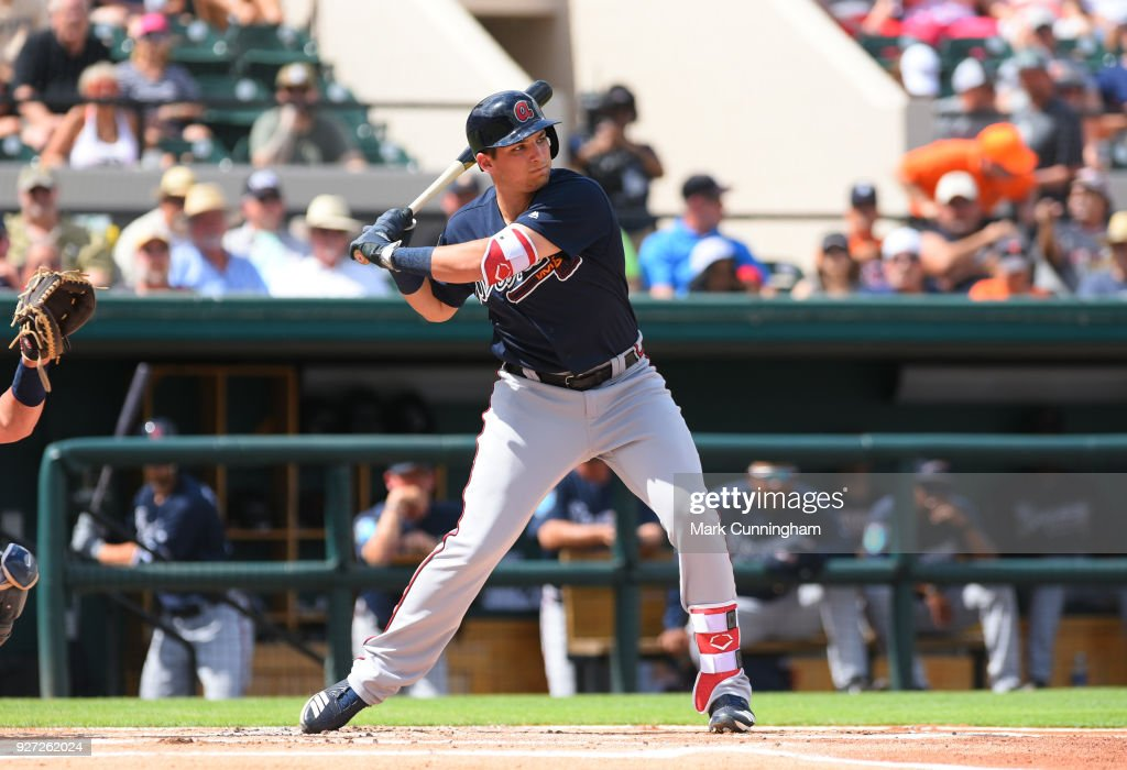 Austin Riley #83 of the Atlanta Braves bats during the Spring Training game against the Detroit Tigers at Publix Field at Joker Marchant Stadium on March 1, 2018 in Lakeland, Florida. The Braves defeated the Tigers 5-2.