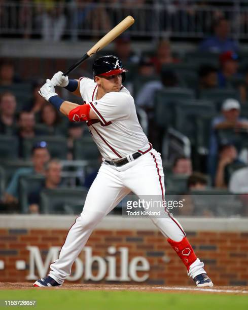 Austin Riley of the Atlanta Braves bats in the eighth inning of an MLB game against the Washington Nationals at SunTrust Park on May 28 2019 in...