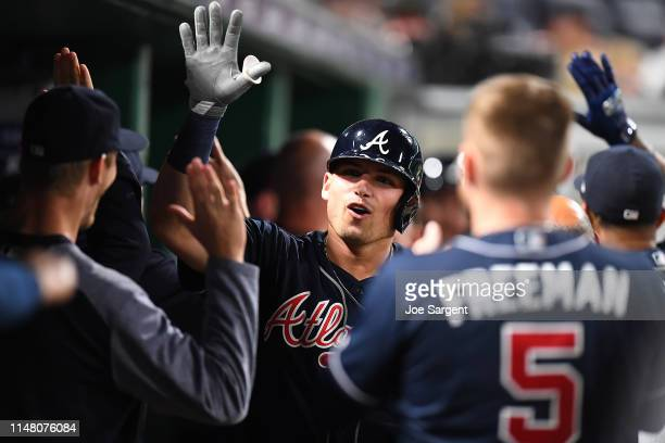 Austin Riley of the Atlanta Braves celebrates his three run home run during the seventh inning against the Pittsburgh Pirates at PNC Park on June 4...