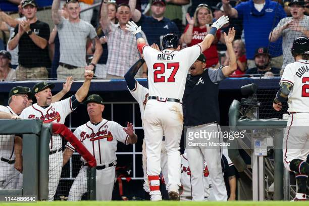 Austin Riley of the Atlanta Braves heads to the dugout after hitting a two run home run in the sixth inning during the game against the Milwaukee...