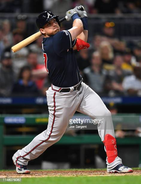 Austin Riley of the Atlanta Braves hits a three run home run during the seventh inning against the Pittsburgh Pirates at PNC Park on June 4 2019 in...