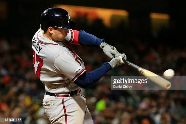 Austin Riley of the Atlanta Braves hits a three run home run during the seventh inning against the San Francisco Giants at Oracle Park on May 22 2019...
