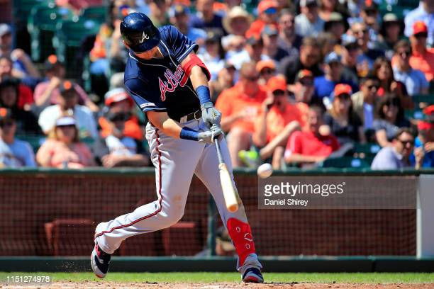Austin Riley of the Atlanta Braves hits a two run home run during the eighth inning against the San Francisco Giants at Oracle Park on May 23 2019 in...