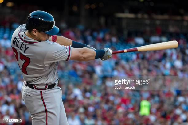 Austin Riley of the Atlanta Braves hits a tworun home run against the Washington Nationals during the second inning at Nationals Park on June 21 2019...