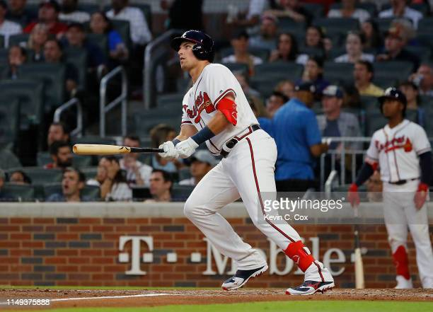 Austin Riley of the Atlanta Braves hits his first Major League home run in the fourth inning during his MLB debut against the St Louis Cardinals at...