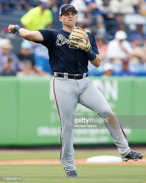 Austin Riley of the Atlanta Braves in action against the New York Mets during the Grapefruit League spring training game at First Data Field on...