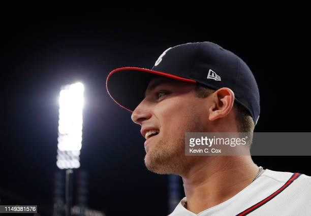 Austin Riley of the Atlanta Braves is interviewed after his MLB debut in their 40 win over the St Louis Cardinals at SunTrust Park on May 15 2019 in...