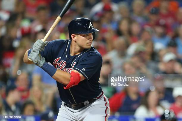 Austin Riley of the Atlanta Braves makes his major league debut during a game against the Philadelphia Phillies at Citizens Bank Park on July 26,...