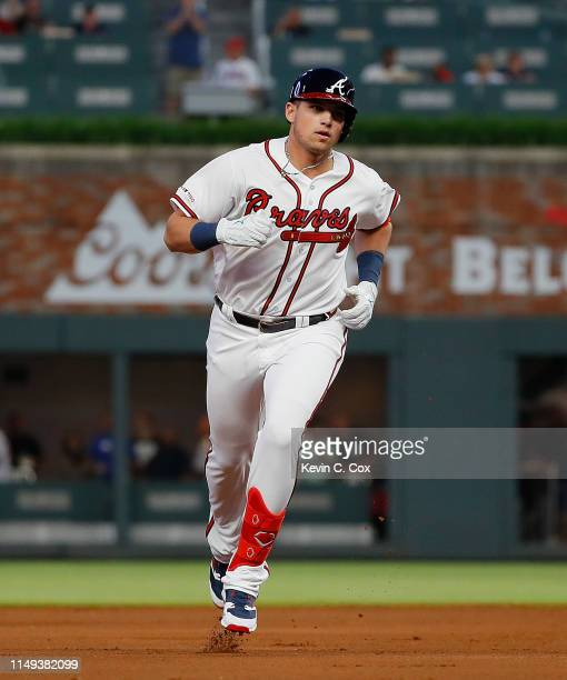Austin Riley of the Atlanta Braves rounds second base after his first Major League home run in the fourth inning during his MLB debut against the St...