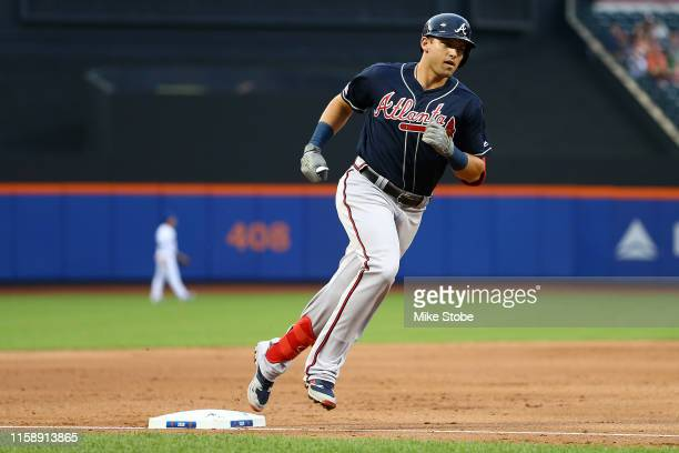 Austin Riley of the Atlanta Braves rounds third base after hitting a 2run home run to left field in the second inning against the New York Mets at...