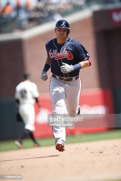 Austin Riley of the Atlanta Braves runs the bases after hitting a home run during the game against the San Francisco Giants at Oracle Park on July 23...