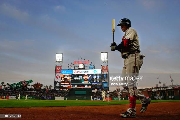 Austin Riley of the Atlanta Braves takes the field and prepares to bat during the fifth inning against the San Francisco Giants at Oracle Park on May...