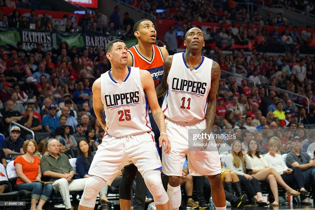 Austin Rivers (25) and Jamal Crawford (11) of LA Clippers are in action against Otto Porter Jr. (C) of Washington Wizards during an NBA game between Los Angeles Clippers vs Washington Wizards at Staples Center, Los Angeles , CA, USA on April 03, 2016.