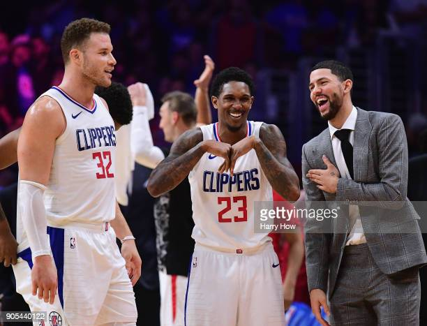 Austin Rivers Lou Williams and Blake Griffin of the LA Clippers laugh during a stop in play in a 113102 Clipper win over the Houston Rockets at...