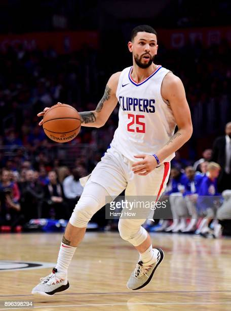 Austin Rivers of the LA Clippers dribbles during the first half against the Phoenix Suns at Staples Center on December 20 2017 in Los Angeles...