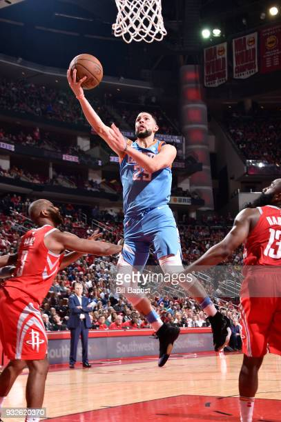 Austin Rivers of the LA Clippers goes to the basket against the Houston Rockets on March 15 2018 at the Toyota Center in Houston Texas NOTE TO USER...