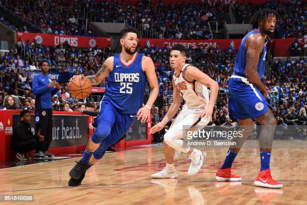 Austin Rivers of the LA Clippers handles the ball against the Phoenix Suns on October 21 2017 at STAPLES Center in Los Angeles California NOTE TO...
