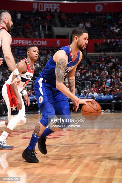 Austin Rivers of the LA Clippers handles the ball during the game against the Washington Wizards on December 9 2017 at STAPLES Center in Los Angeles...