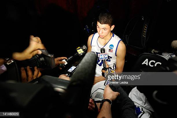Austin Rivers of the Duke Blue Devils answers questions in the locker room after the Blue Devils lose to the Lehigh Mountain Hawks 7570 during the...