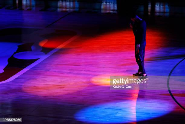 Austin Rivers of the Houston Rockets gets ready for the game during player introductions against the Oklahoma City Thunder in Game Four of the...