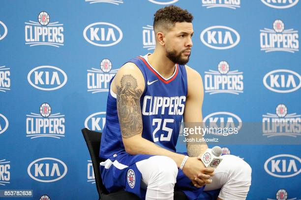 Austin Rivers of the Los Angeles Clippers answers questions from the media at the Los Angeles Clippers Training Center on September 25 2017 in Playa...