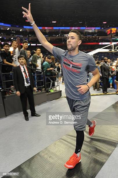 Austin Rivers of the Los Angeles Clippers exits the court after warmups before a game against the Charlotte Hornets as part of the 2015 NBA Global...
