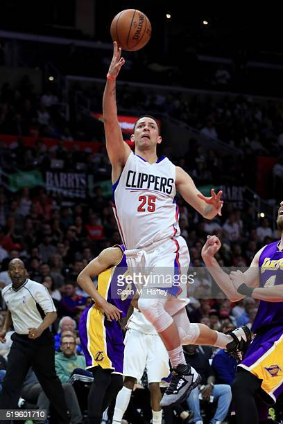 Austin Rivers of the Los Angeles Clippers makes a layup during an NBA game between Los Angeles Clippers vs Los Angeles Lakers April 5 2016 at Staples...