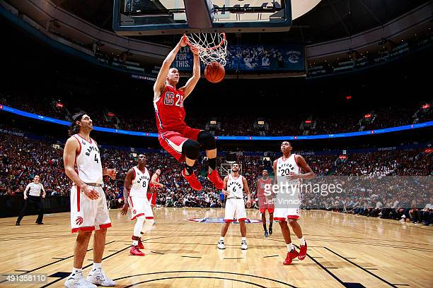 Austin Rivers of the Los Angeles Clippers makes a slam dunk during their NBA preseason game on October 4 2015 at Rogers Arena in Vancouver Canada...