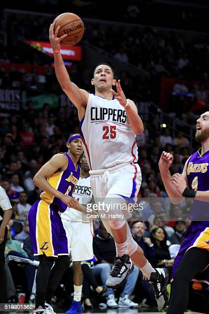 Austin Rivers of the Los Angeles Clippers shoots a layup during the second half of an NBA game against the Los Angeles Clippers on April 5 2016 at...
