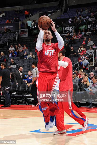 Austin Rivers of the Los Angeles Clippers warms up before a game against the Brooklyn Nets at STAPLES Center on January 22 2015 in Los Angeles...