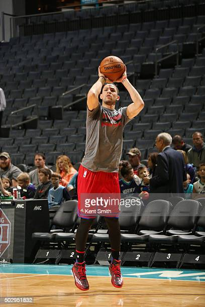 Austin Rivers of the Los Angeles Clippers warms up before the game against the Charlotte Hornets on December 30 2015 at Time Warner Cable Arena in...