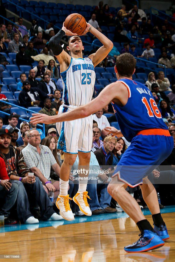 Austin Rivers #25 of the New Orleans Hornets shoots a three-pointer against Steve Novak #16 of the New York Knicks on November 20, 2012 at the New Orleans Arena in New Orleans, Louisiana.