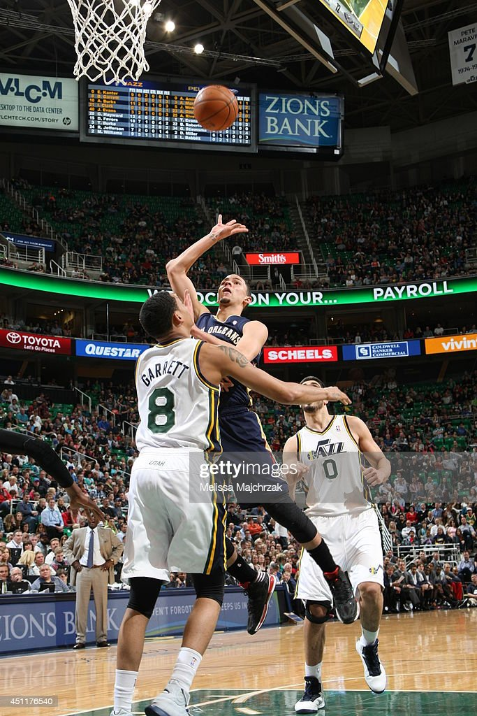 Austin Rivers #25 of the New Orleans Pelicans takes a shot against the Utah Jazz at EnergySolutions Arena on April 04, 2014 in Salt Lake City, Utah.