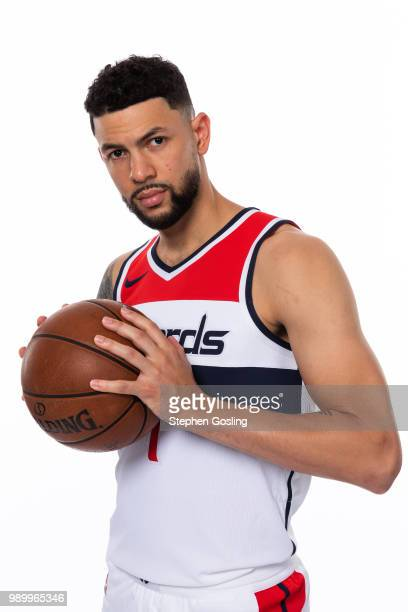 Austin Rivers of the Washington Wizards poses for a portrait after being introduced during a press conference at Capital One Arena in Washington DC...