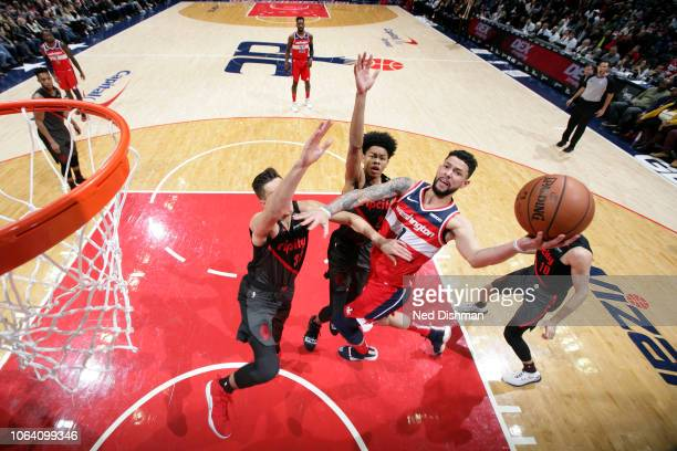 Austin Rivers of the Washington Wizards shoots the ball against the Portland Trail Blazers on November 18 2018 at Capital One Arena in Washington DC...