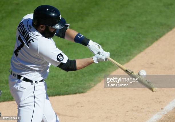 Austin Romine of the Detroit Tigers flies out during the ninth inning of a game against the Cleveland Indians at Comerica Park on September 20 in...