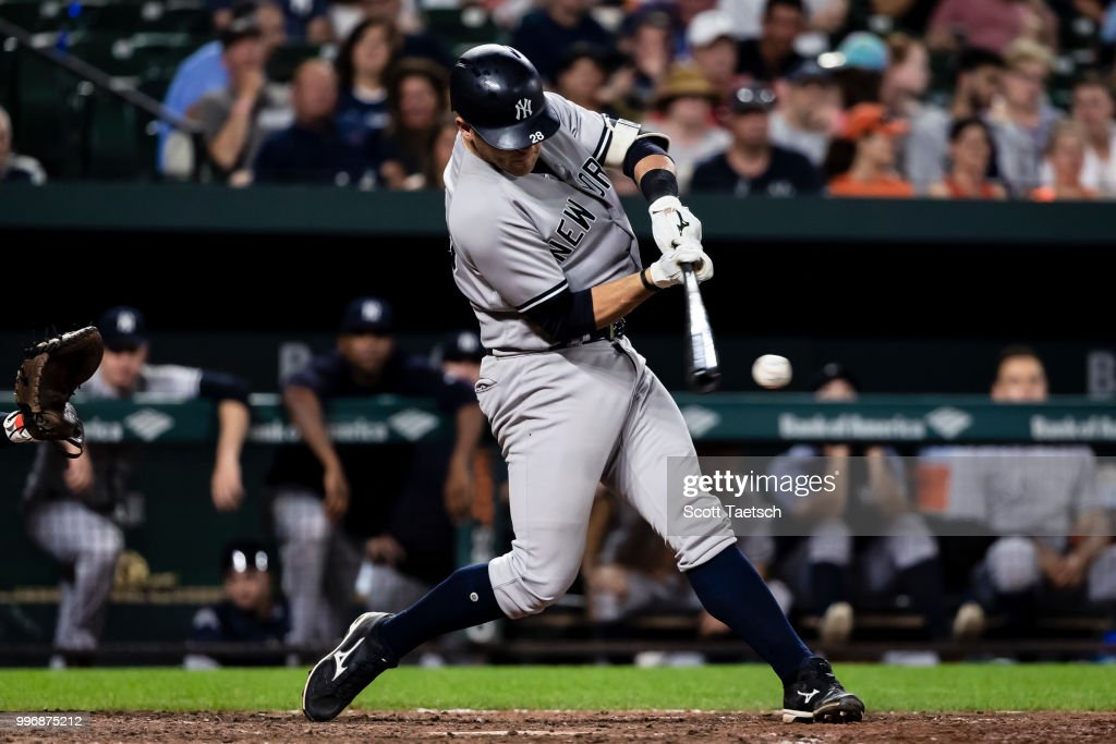 Austin Romine #28 of the New York Yankees at bat against the Baltimore Orioles during the eighth inning at Oriole Park at Camden Yards on July 11, 2018 in Baltimore, Maryland.