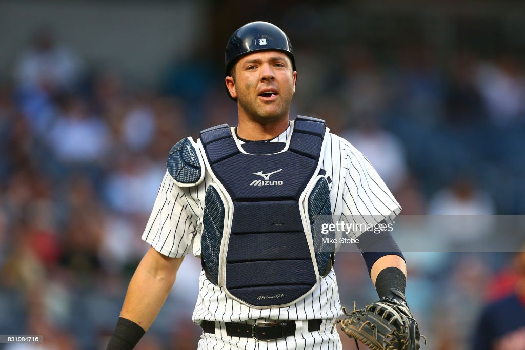 Austin Romine #27 of the New York Yankees in action against the Boston Red Sox at Yankee Stadium on August 11, 2017 in the Bronx borough of New York City. New York Yankees defeated the Boston Red Sox 5-4.