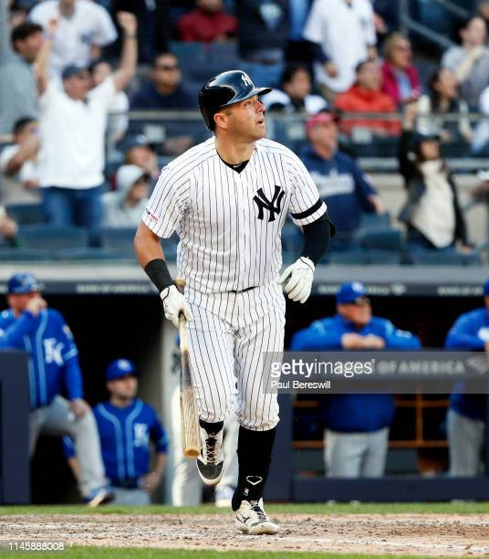 Austin Romine of the New York Yankees watches the ball he hit as it goes for a deep single to centerfield that drove in the winning run in the 10th...