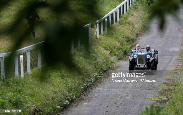 Austin Seven Arrow Sports is driven up the test hill during the Brooklands Double Twelve Motorsport Festival at Brooklands Museum in Weybridge Surrey