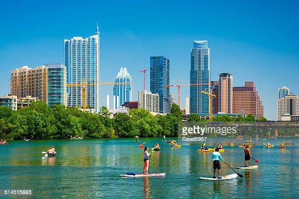 austin skyline and people having fun - austin texas stock pictures, royalty-free photos & images