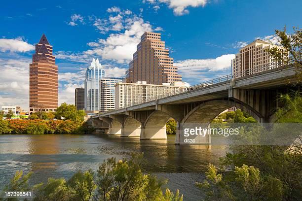 Austin skyline; Congress Avenue Bridge; Town Lake; downtown district