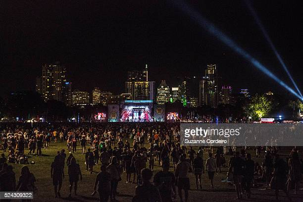 Austin skyline image as the Foo Fighters close out Day 1 of ACL Music Festival on the Samsung Galaxy stage at Zilker Park on Friday October 2 2015 in...