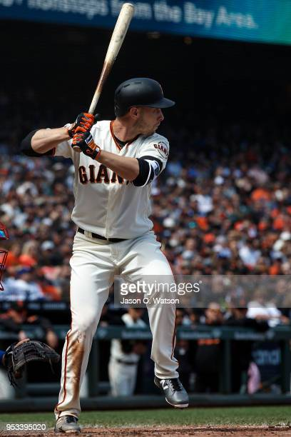 Austin Slater of the San Francisco Giants at bat against the Los Angeles Dodgers during the fourth inning at ATT Park on April 29 2018 in San...