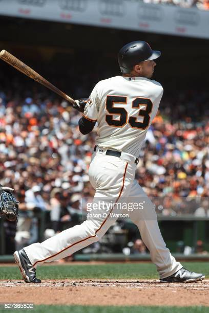 Austin Slater of the San Francisco Giants at bat against the New York Mets during the second inning at ATT Park on June 25 2017 in San Francisco...