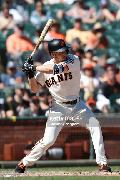 Austin Slater of the San Francisco Giants at bat in the fourth inning against the Colorado Rockies at ATT Park on September 16 2018 in San Francisco...