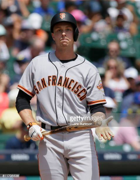Austin Slater of the San Francisco Giants bats against the Detroit Tigers at Comerica Park on July 6 2017 in Detroit Michigan