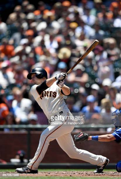 Austin Slater of the San Francisco Giants bats against the Kansas City Royals in the bottom of the second inning at ATT Park on June 14 2017 in San...