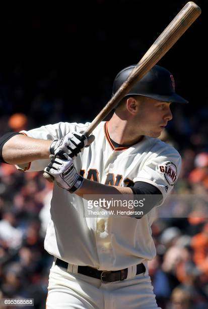 Austin Slater of the San Francisco Giants bats against the Minnesota Twins in the bottom of the seventh inning at ATT Park on June 11 2017 in San...