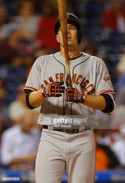 Austin Slater of the San Francisco Giants in action against the Philadelphia Phillies during a game at Citizens Bank Park on June 2 2017 in...